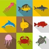 Sea animals icon set, flat style Stock Photo
