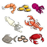 Sea animals icons. A vector illustration of different sea animals icons Stock Photo