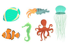 Sea animals  icons Stock Photography