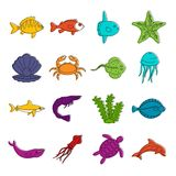 Sea animals icons doodle set. Sea animals icons set. Doodle illustration of vector icons isolated on white background for any web design Royalty Free Stock Photography