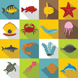 Sea animals icons set, flat style. Sea animals icons set. Flat illustration of 16 sea animals vector icons for web Royalty Free Illustration