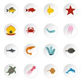 Sea animals icons set in flat style Royalty Free Stock Photo