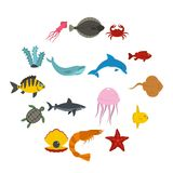 Sea animals icons set in flat style. Isolated vector illustration Royalty Free Stock Image