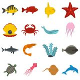 Sea animals icons set in flat style. Vector illustration Royalty Free Stock Photo