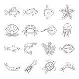Sea animals icons set, otline style Royalty Free Stock Images