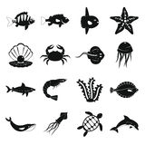 Sea animals icons set, simple style. Sea animals icons set. Simple illustration of 16 sea animals vector icons for web Vector Illustration
