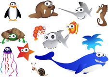 Sea animals, illustration of ocean life Stock Photo