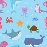 Sea animals illustration tropical character wildlife marine aquatic fishes sealess pattern vector background Royalty Free Stock Photography