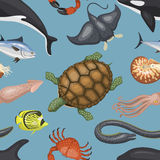Sea animals illustration tropical character wildlife marine aquatic tropic fishes sealess pattern vector background Stock Image