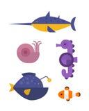 Sea animals marine life character vector illustration. Stock Photos