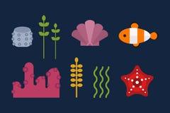Sea animals marine life character vector illustration. Royalty Free Stock Photo