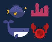 Sea animals marine life character vector illustration. Stock Image