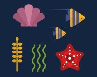 Sea animals marine life character vector illustration. Stock Photography
