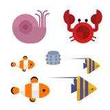 Sea animals marine life character vector illustration. Royalty Free Stock Photography