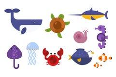 Sea animals marine life character vector illustration. Stock Images