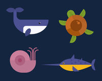 Sea animals marine life character vector illustration. Stock Photo