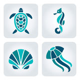 Sea animals mosaic icons. Set of 4 vector sea animals icons vector illustration