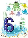 Sea animals and numbers series -,6,octopuses royalty free stock photos