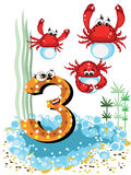 Sea animals and numbers series for kids ,3,crabs Stock Image