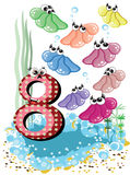 Sea animals and numbers series for kids ,8,shells royalty free stock photo