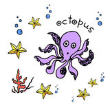 Sea animals-octopus, starfish. Hand drawn set with sea animals - starfish, octopus. Ocean vector  illustration of sea world. Underwater life design. Tropical sea Stock Photos