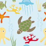 Sea animals pattern Royalty Free Stock Images