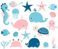 Sea animals in pink and blue Royalty Free Stock Images