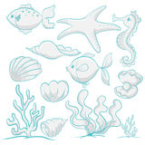 Sea animals and plants. Illustration of various sea animals and plants on a white background Royalty Free Stock Photo