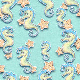 Sea animals seamless background Stock Images