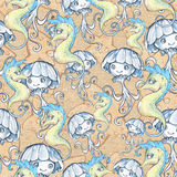 Sea animals seamless background Royalty Free Stock Images