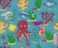 Sea animals seamless pattern background vector water plants ocean fish cartoon illustration undersea water marine aquatic characte. R life. Underwater wildlife Stock Photos
