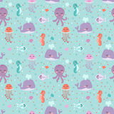 Sea animals seamless pattern fish corals starfish shells jellyfish aquarium colorful vector illustration. Sea animals seamless pattern fish corals starfish Stock Images