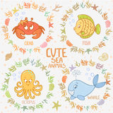 Sea animals set Stock Photo