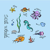 Sea animals set. Hand drawn set with sea animals - fish, starfish, octopus, seahorse,  shrimp, stingrey, jellyfish. Ocean vector  illustration of sea world Stock Photography