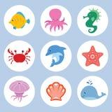 Sea animals set. Vector set of cute cartoon sea animals royalty free illustration