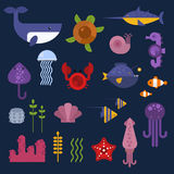 Sea animals  set. Royalty Free Stock Images