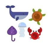 Sea animals  set. Royalty Free Stock Photo