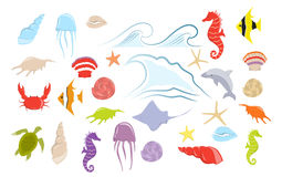Sea animals set. Sea animals set on white background. Starfish and fish, octopus and crab and more Royalty Free Stock Photos