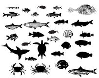 Sea animals silhouettes set Stock Photography