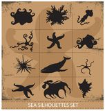 Sea animals silhouettes underwater symbols set Royalty Free Stock Image