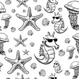 Sea animals sketch background Stock Image