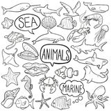 Sea Animals Traditional Doodle Icons Sketch Hand Made Design Vector stock illustration