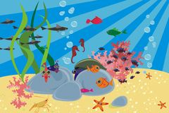 Sea animals in vector. Life in the deep sea. Fish and seaweed Stock Photo
