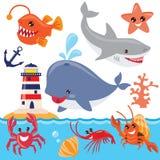 Sea animals vector illustration Royalty Free Stock Photo
