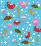 Sea animals vector pattern Royalty Free Stock Photography