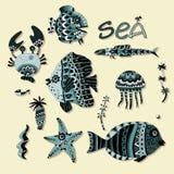 Sea animals on a yellow background. Stock Photo