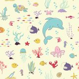 Sea animals. Cartoon seamless pattern. Sea animalsand sea plants. Cartoon seamless pattern Stock Photos