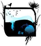 Sea aquarium. Jpeg and vector illustration with underwater theme Stock Photos