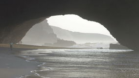 Sea arch formed by ocean erosion in Legzira, Morocco stock video footage
