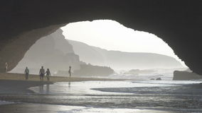 Sea arch formed by ocean erosion in Legzira, Morocco stock footage